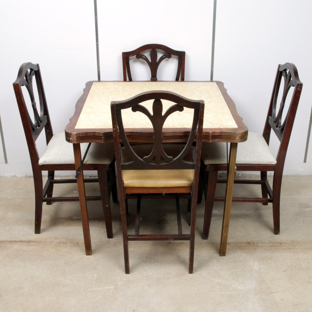 Mid Century Federal Style Folding Table and Chairs
