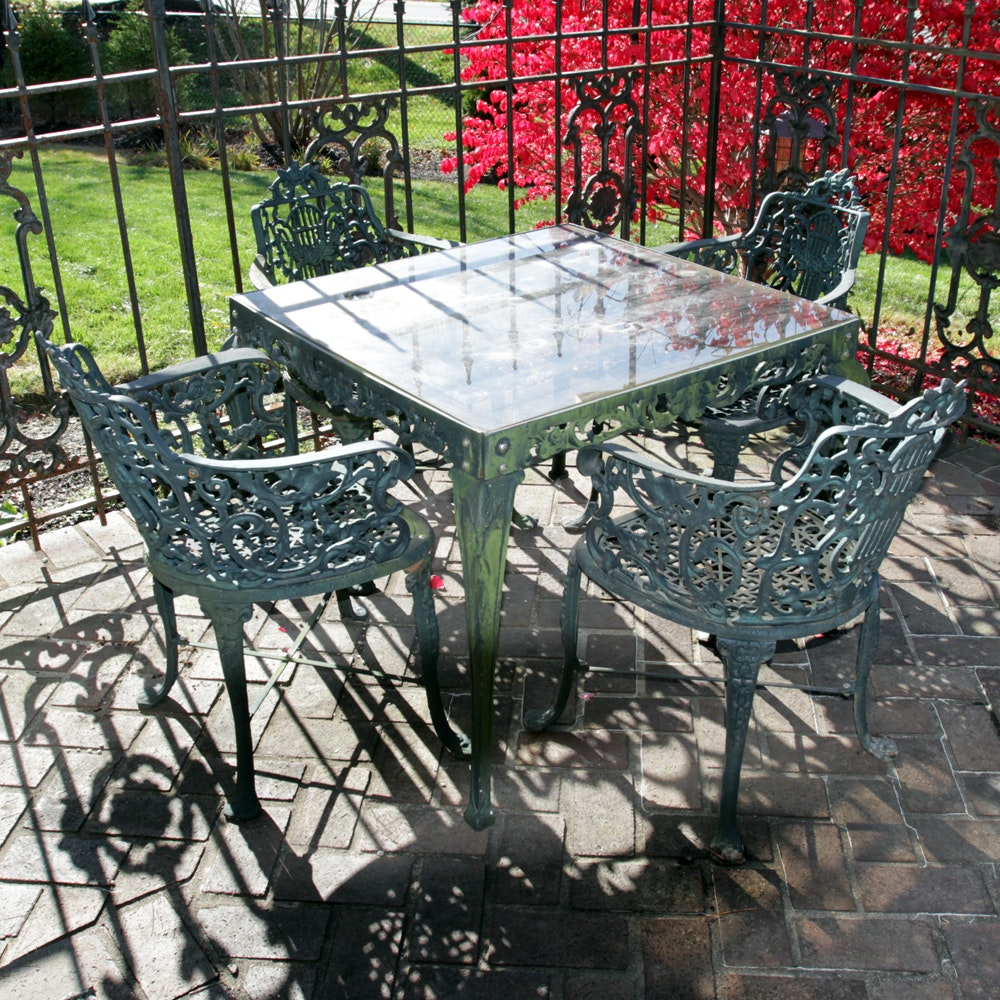 Five Piece Wrought Iron Patio Set