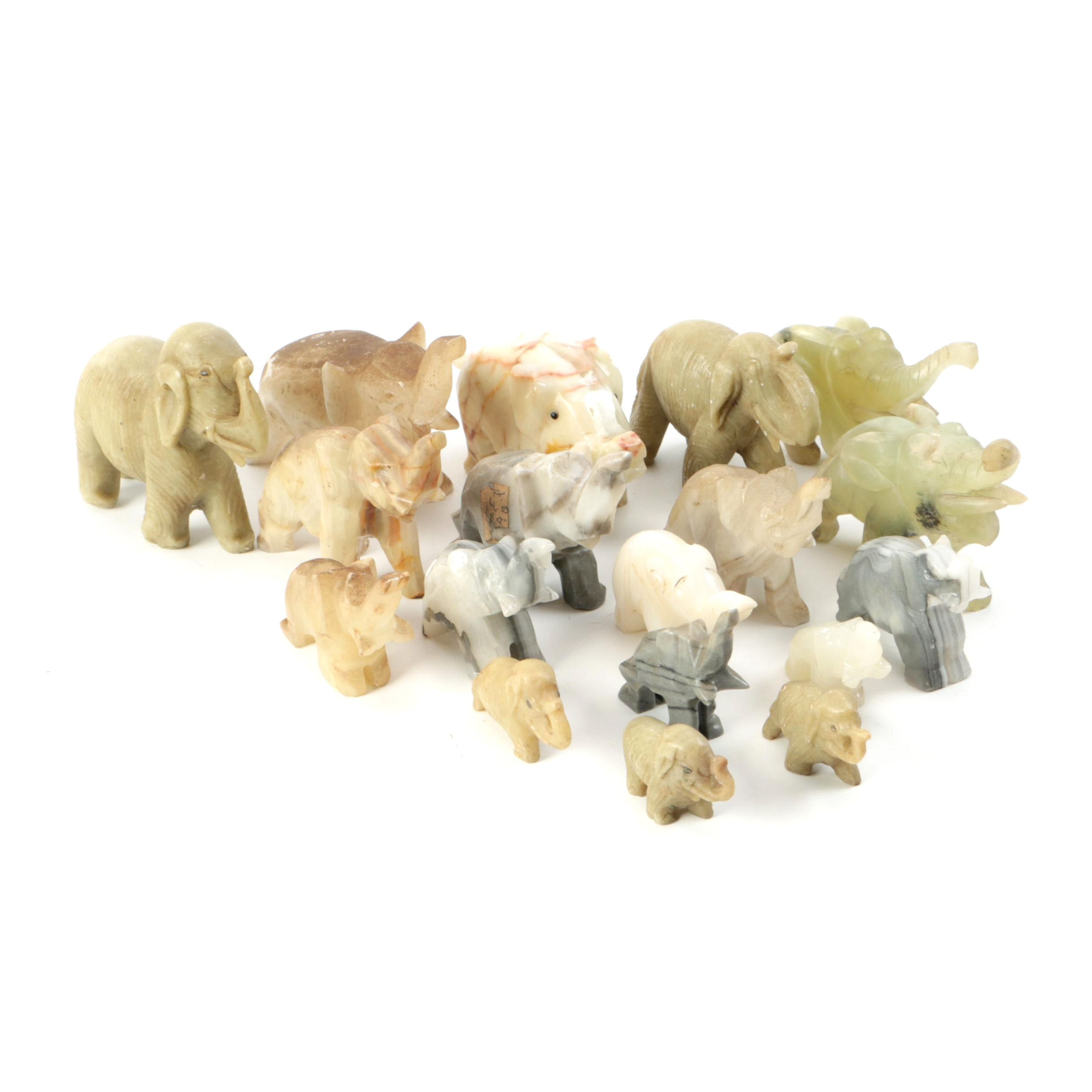 Carved Agate and Soapstone Elephant Figurines