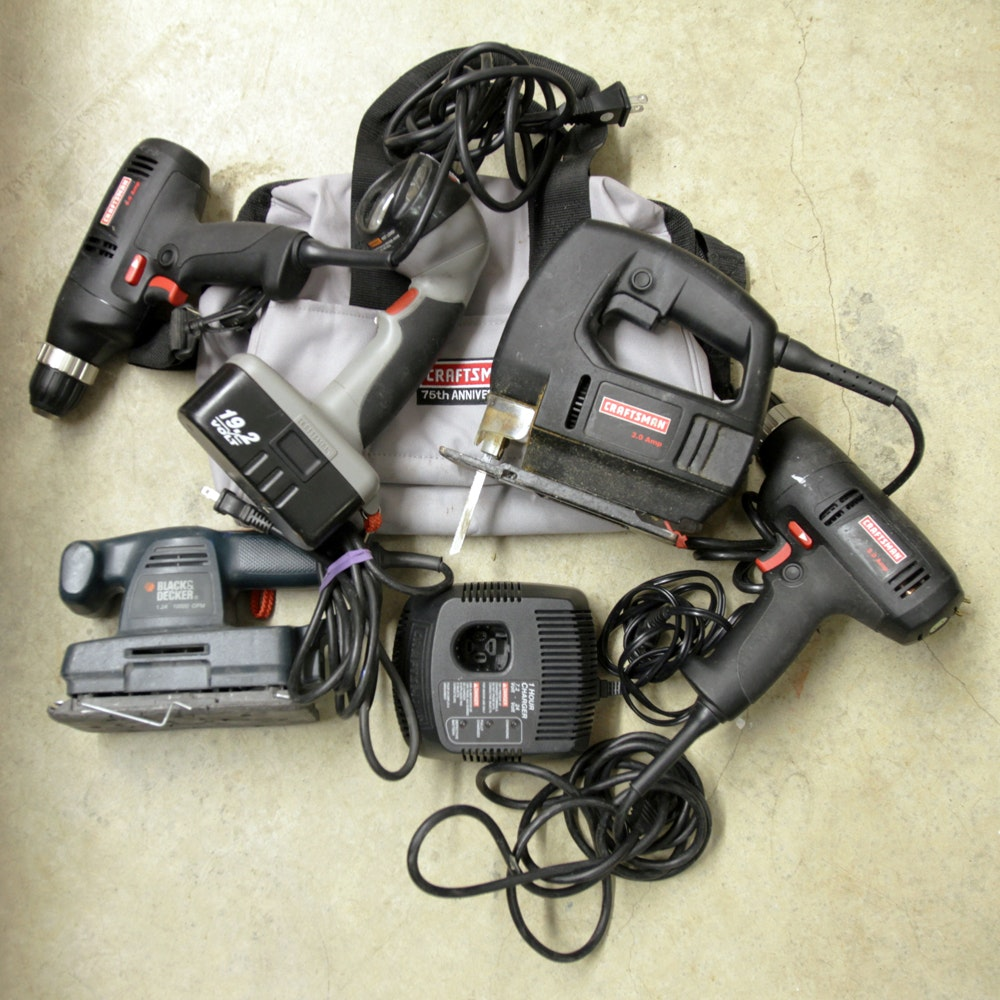 Collection of Craftsman and Black & Decker Power Tools