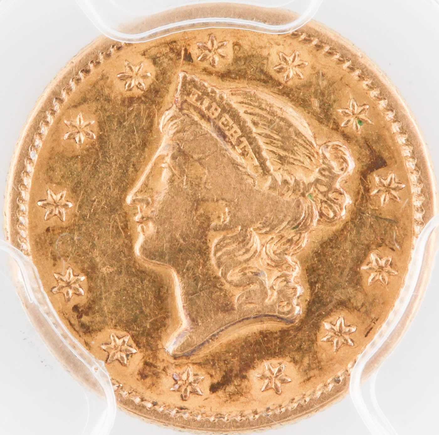 PCGS Certified 1849 Open Wreath Liberty Head $1 Gold Coin
