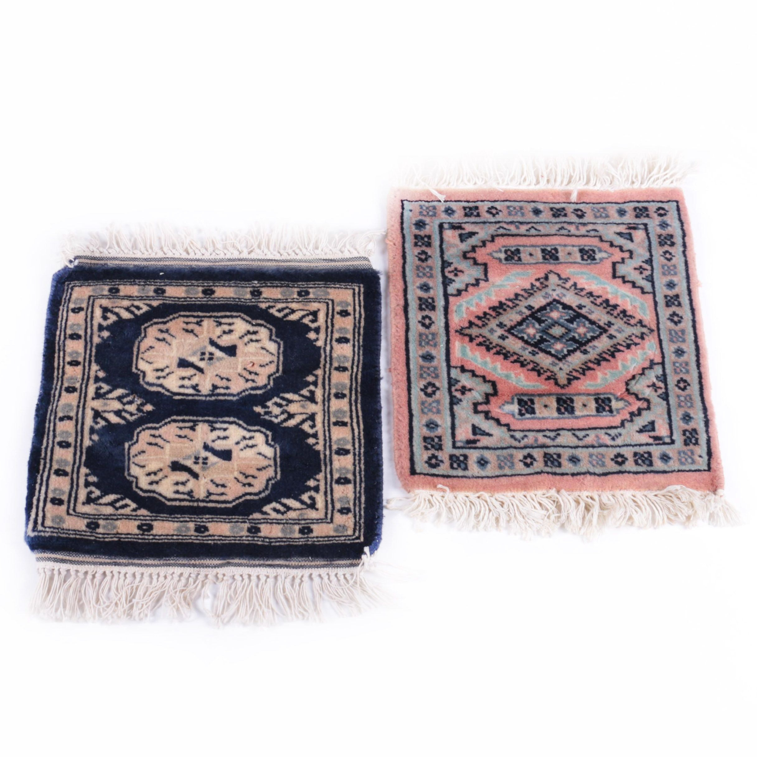 Pair of Hand-Knotted Pakistani Wool Mats