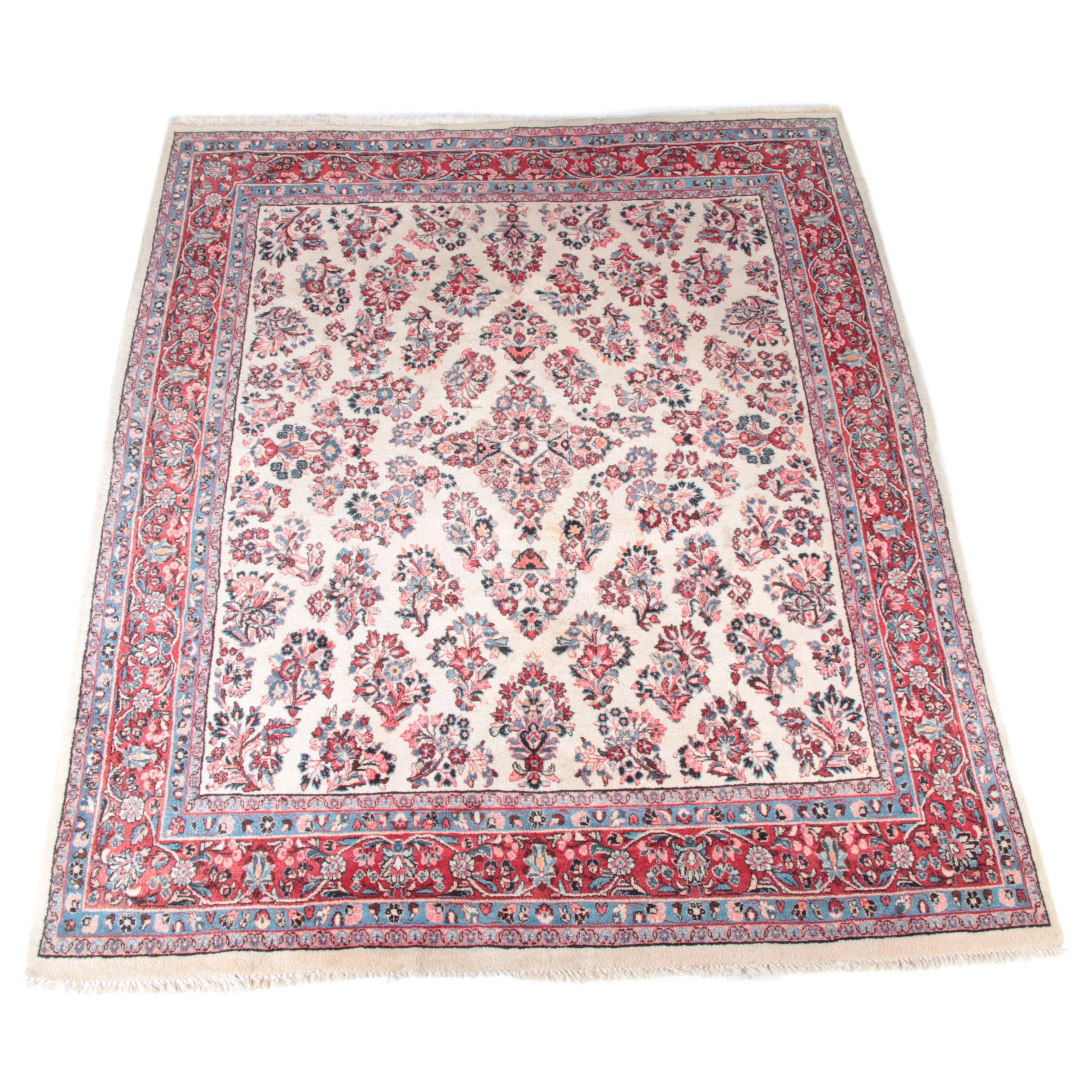Large Hand-Knotted Persian Sarouk Ivory Area Rug