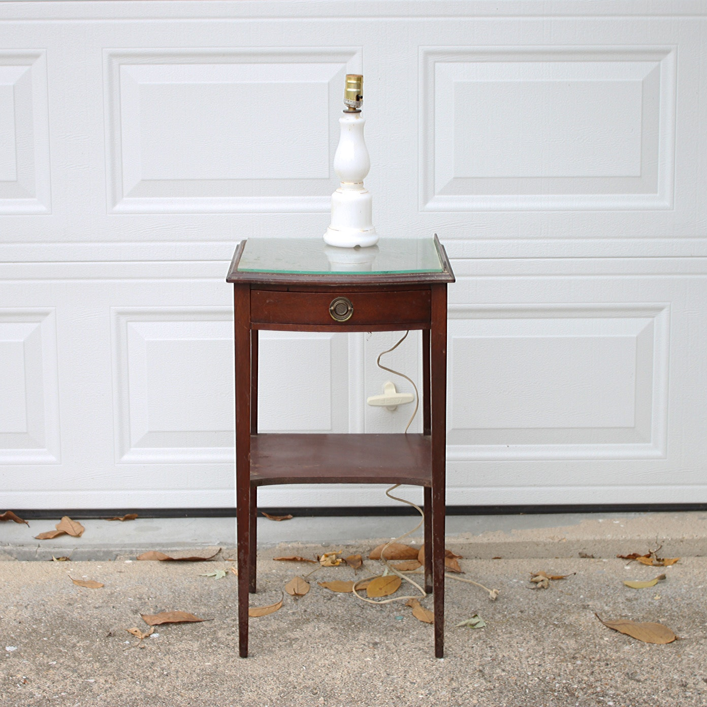 Vintage Side Table with Milk Glass Lamp
