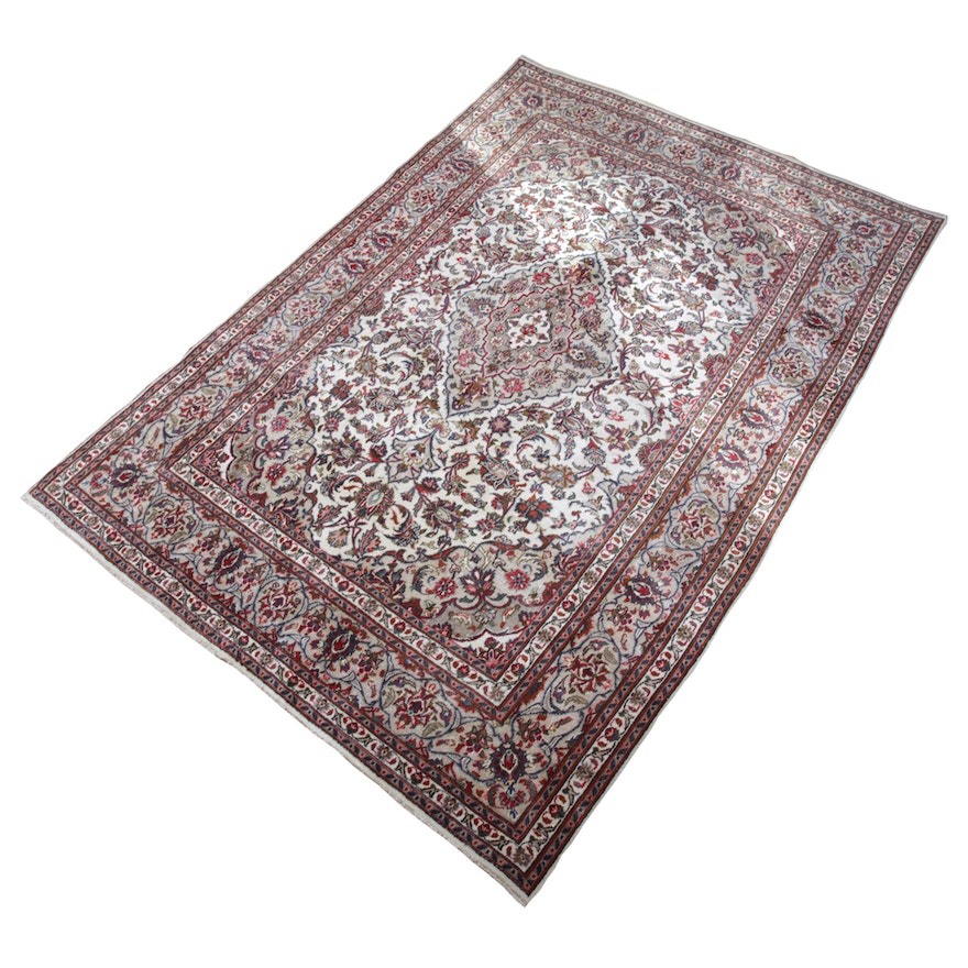 Persian Hand Knotted Kashan Silk And Wool Area Rug Ebth: Hand-Knotted Persian Kashan Area Rug : EBTH