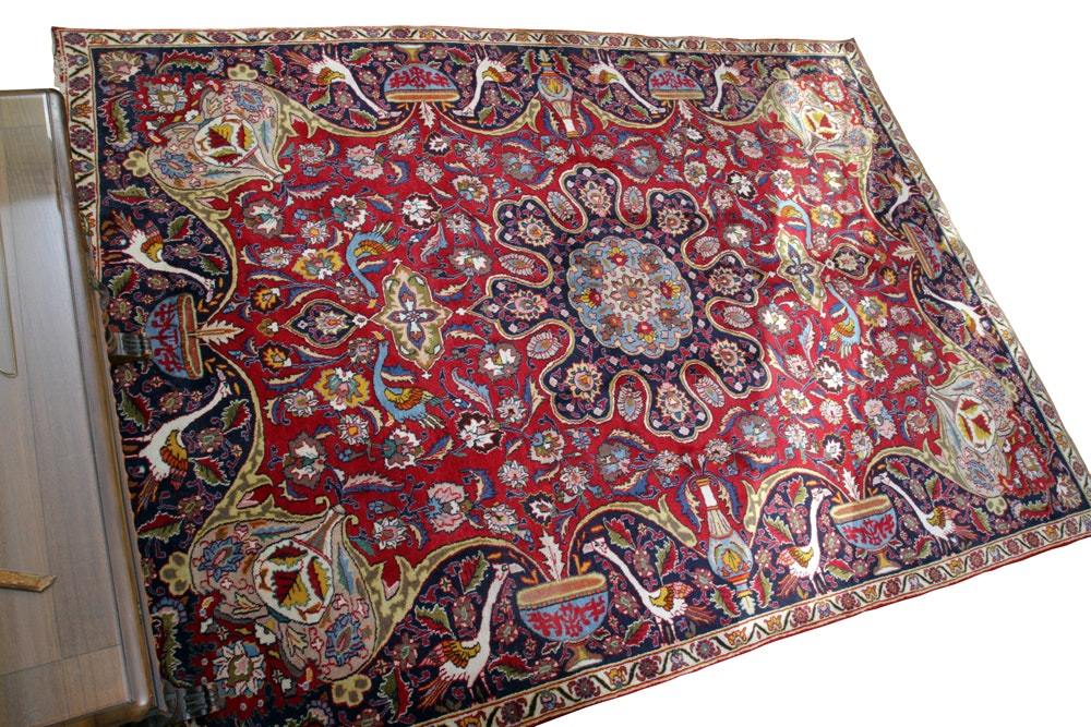 Hand-Knotted Tabriz Pictorial Wool Area Rug
