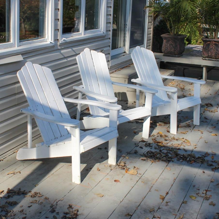 Three Wood Adirondack Chairs
