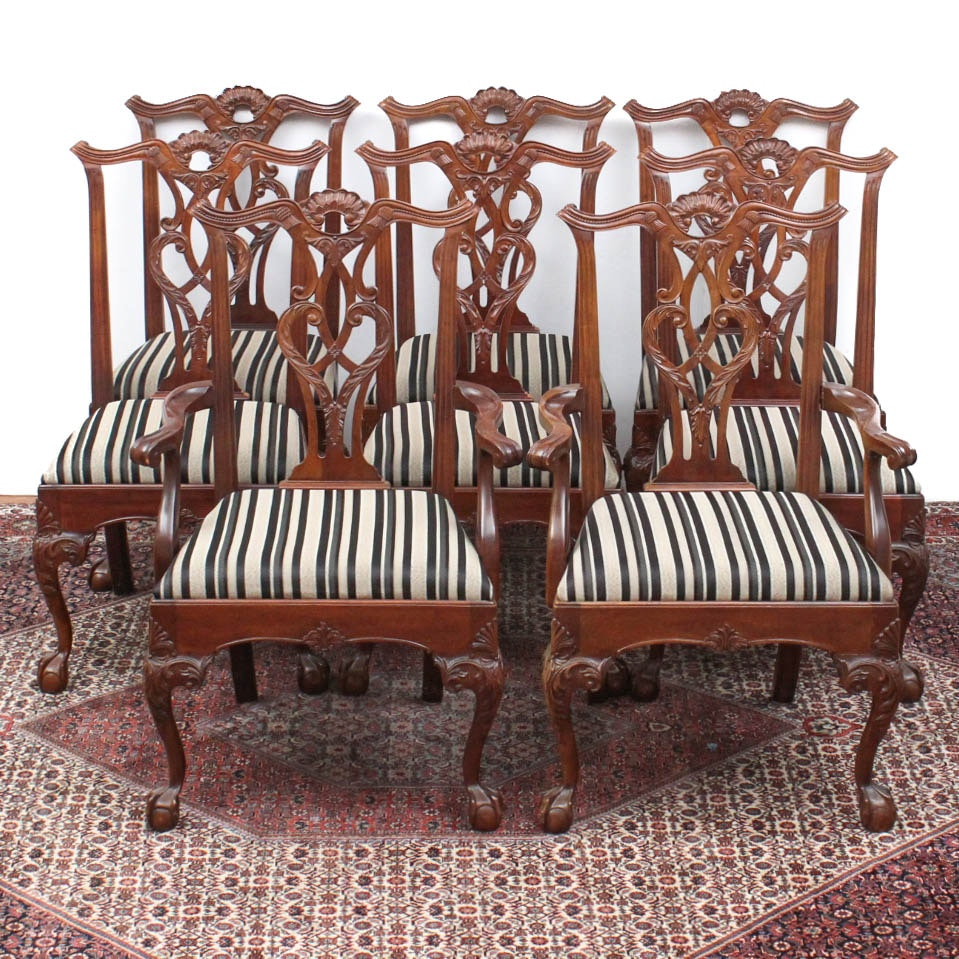 Set of Eight Chippendale Style Dining Chairs by Henredon