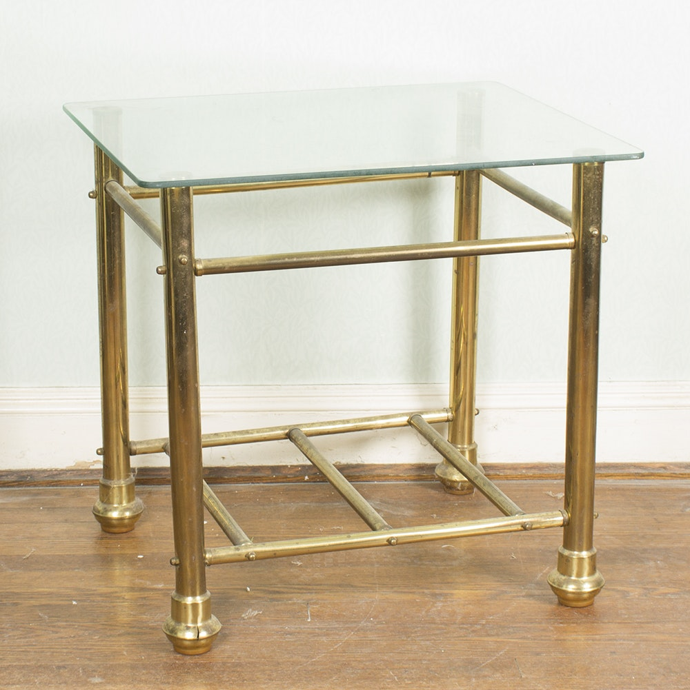 Glass Top Brass Tone Side Table