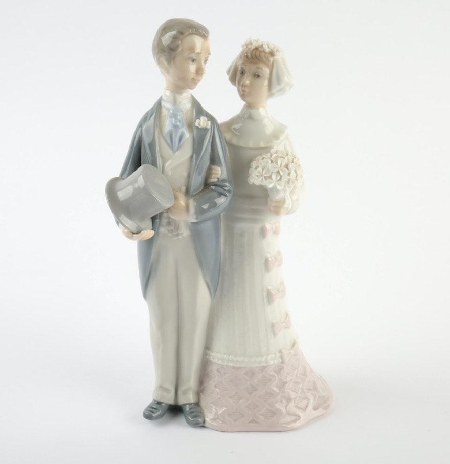 Lladro Bride And Groom Porcelain Wedding Cake Topper