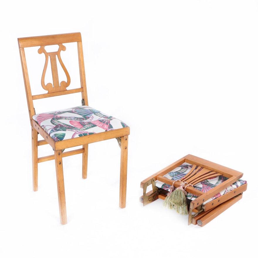 Marvelous Pair Of Vintage Lyre Back Leg O Matic Folding Chairs By Lorraine Industries Inzonedesignstudio Interior Chair Design Inzonedesignstudiocom