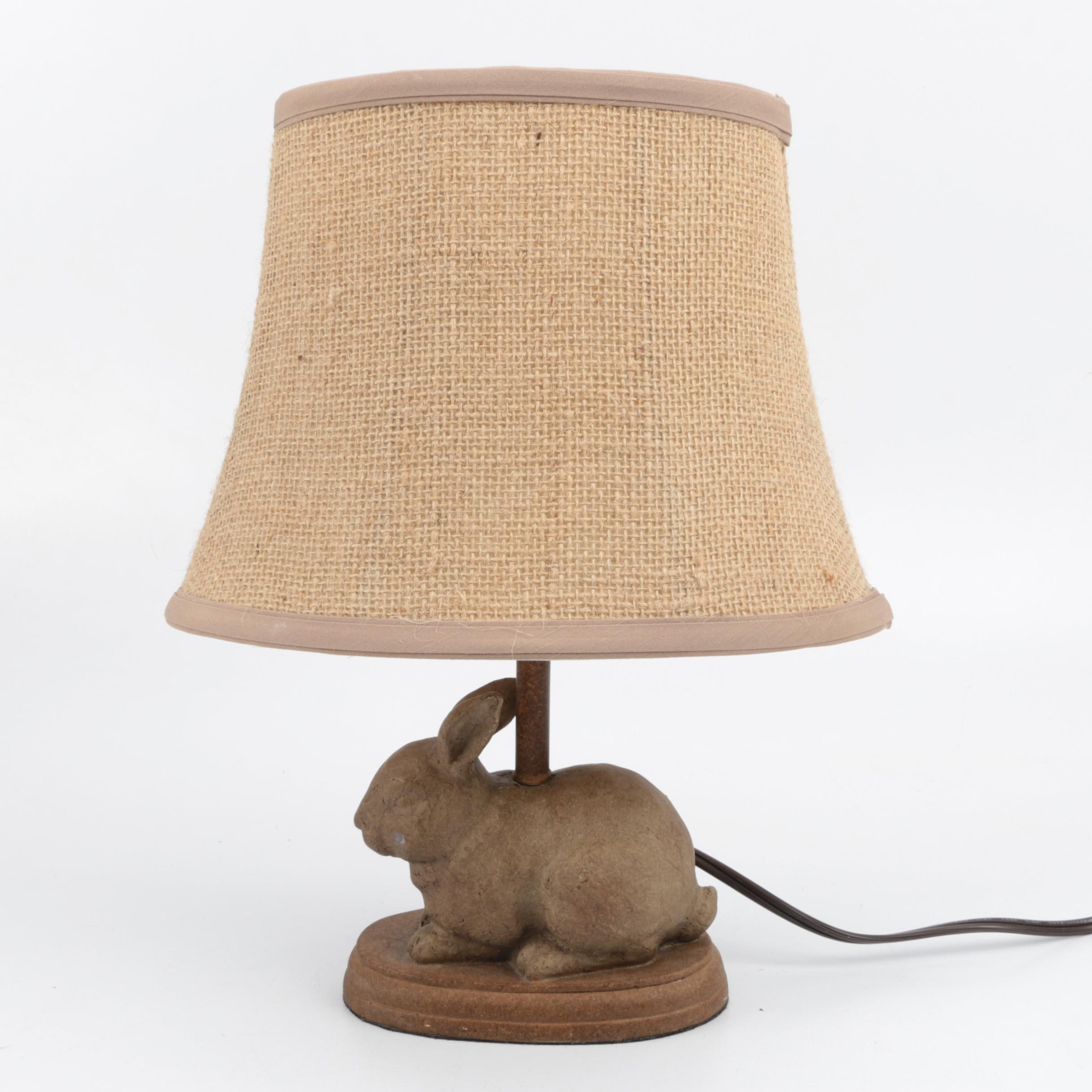 Figural Table Lamp with Rabbit Figure