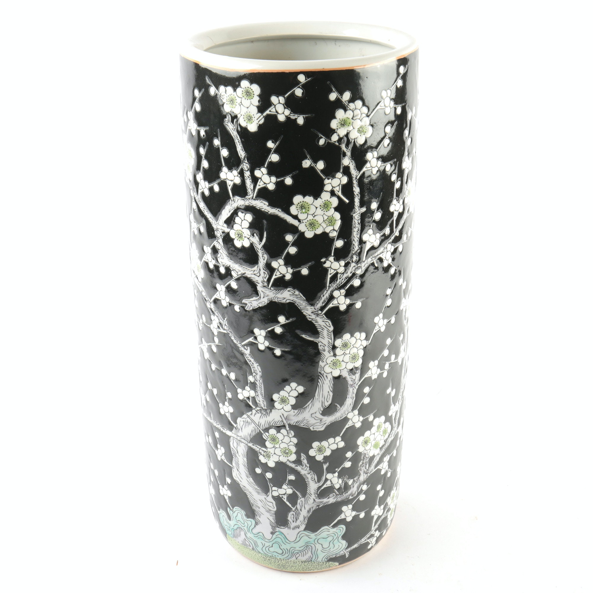 """Vintage Chinese Porcelain """"Cherry Blossom"""" Umbrella Stand"""