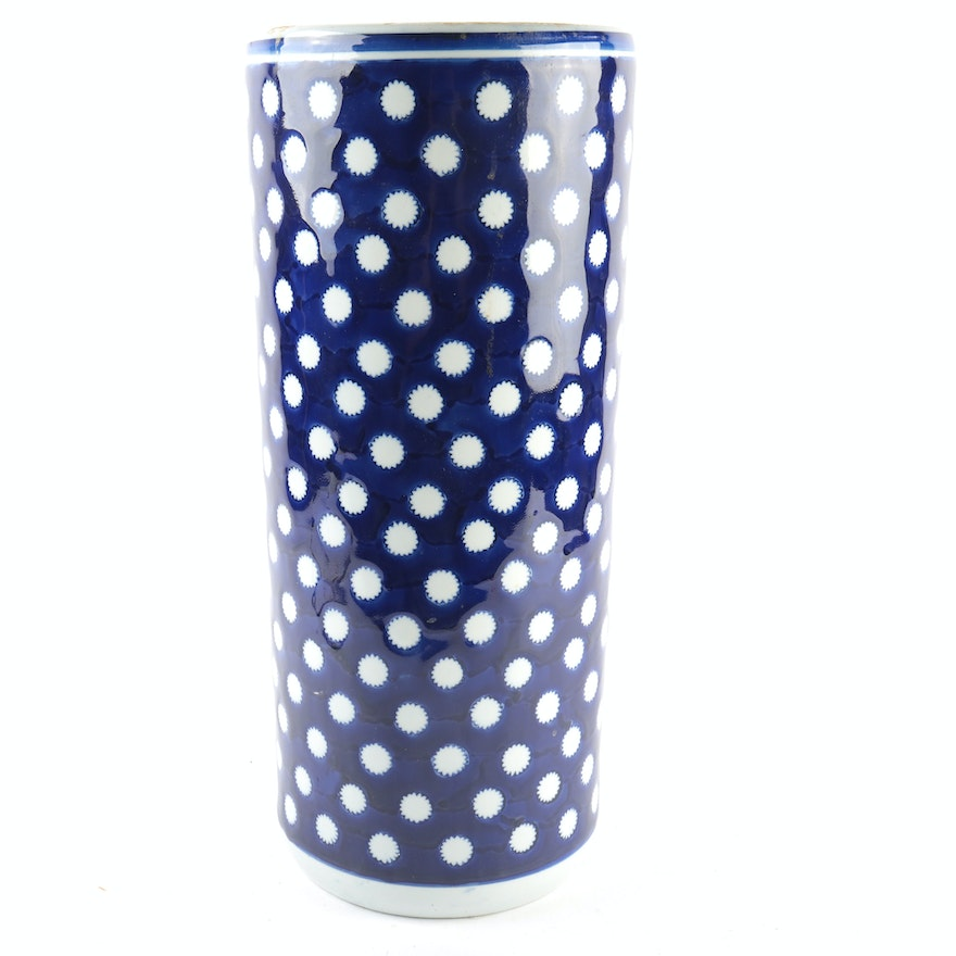 Umbrella Stand Blue And White: Vintage Chinese Porcelain Blue And White Polka Dot