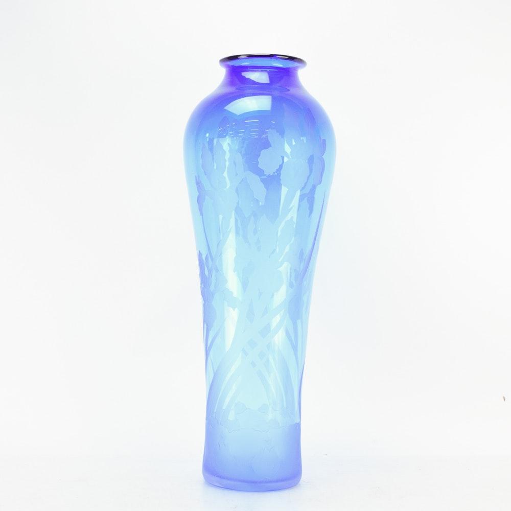 "Vintage Michelle Dein ""Giant Iris"" Art Glass Vase"