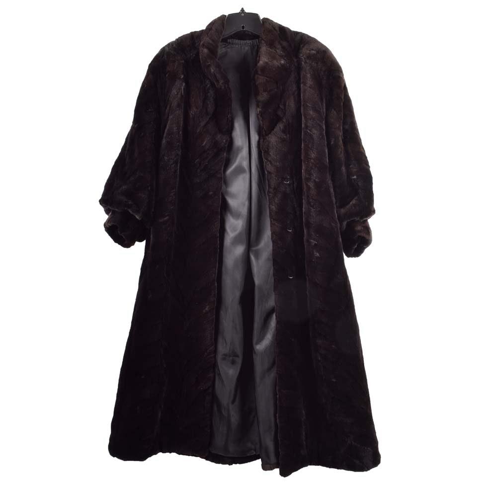 Vintage Sheared Paw Mink Fur Coat