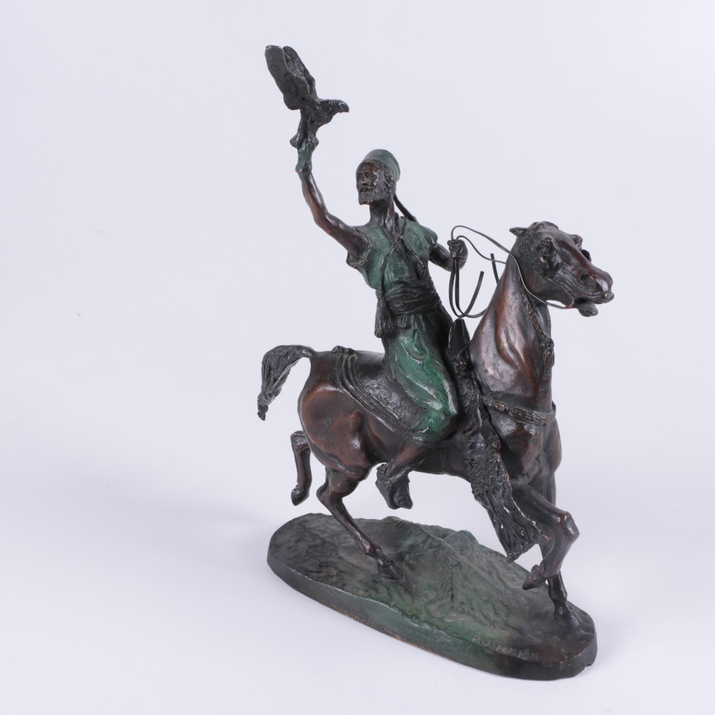 "After Pierre-Jules Mêne Reproduction Sculpture ""Falconer"""