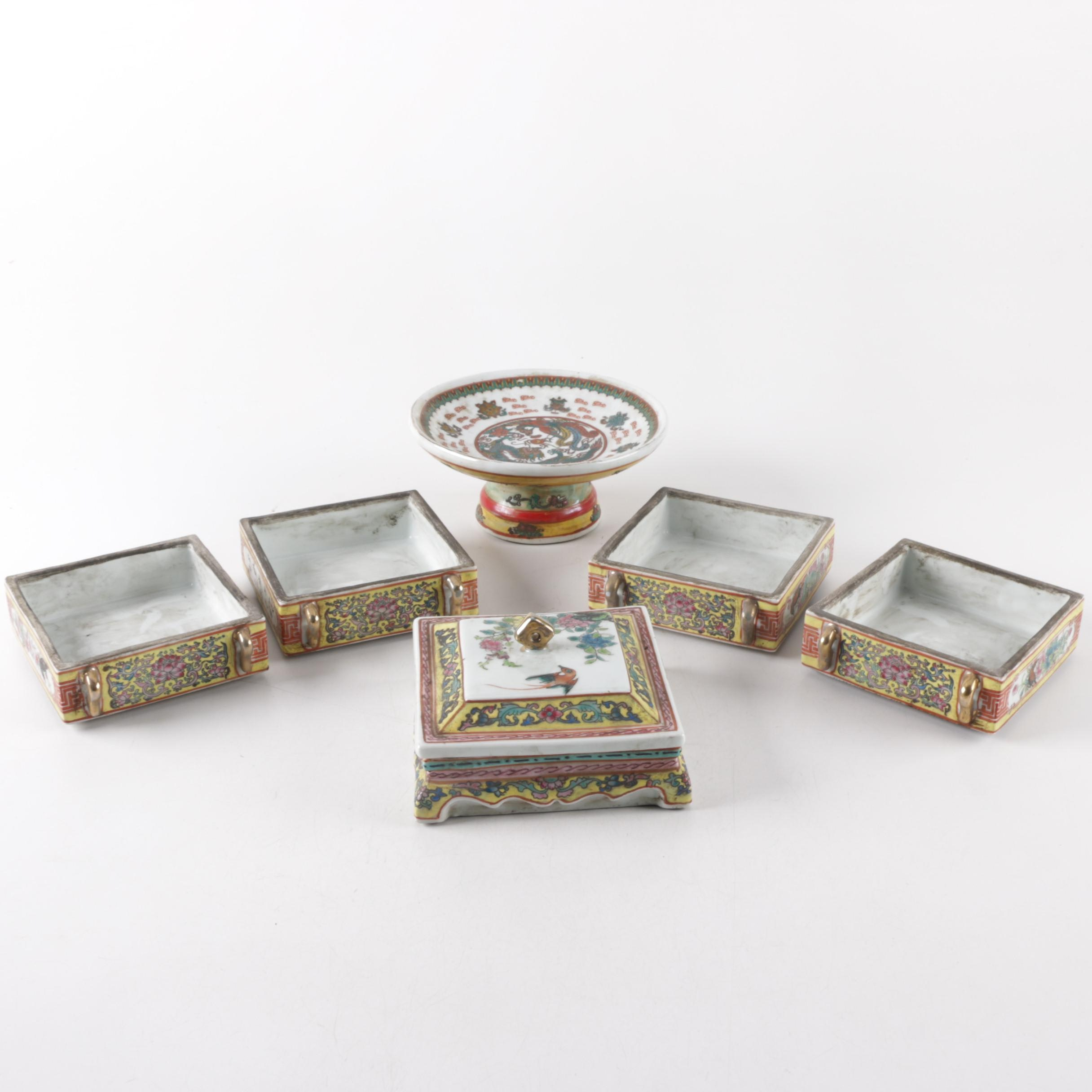 Chinese Ceramic Stacking Boxes with Compote