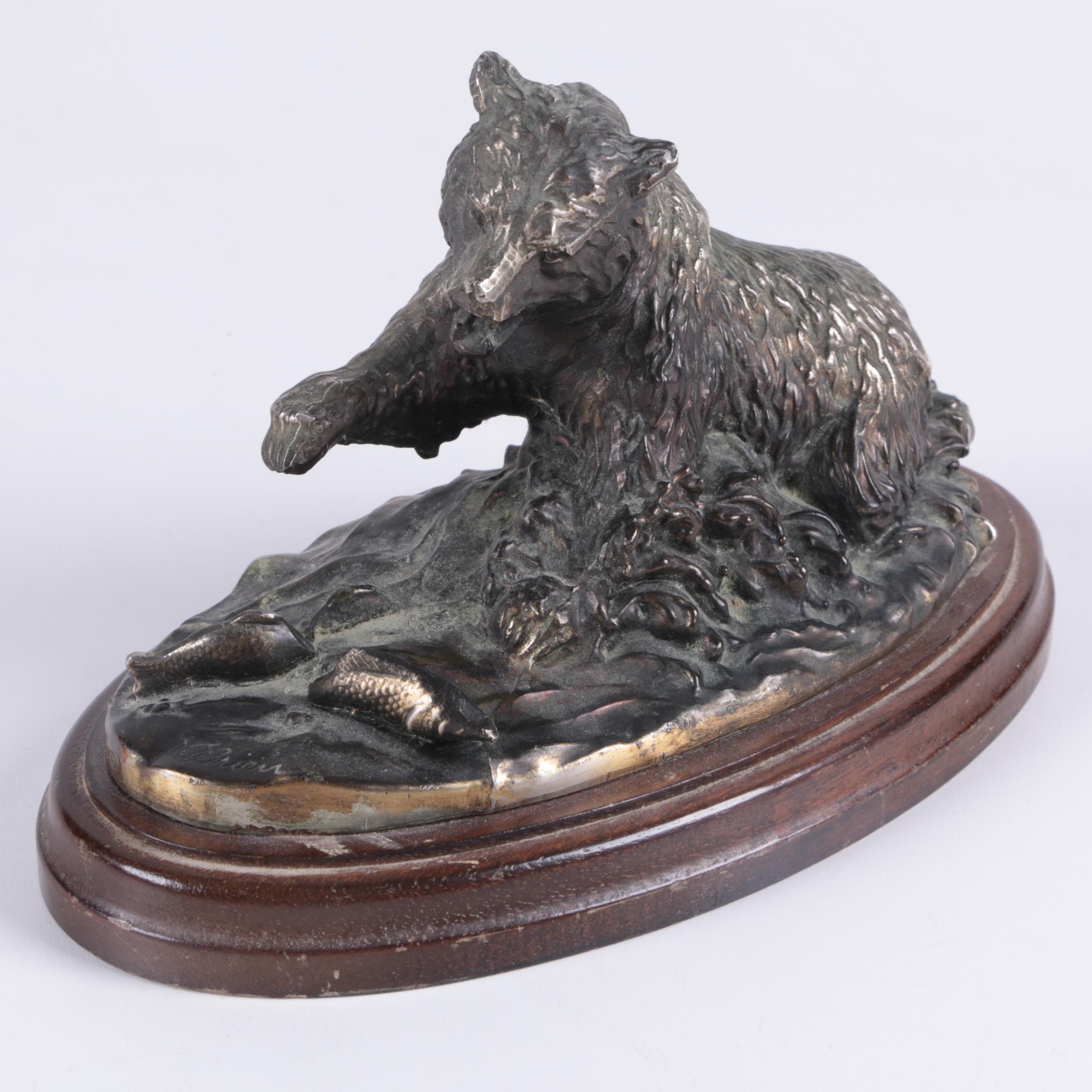Reproduction Bronze Sculpture of Grizzly Bear