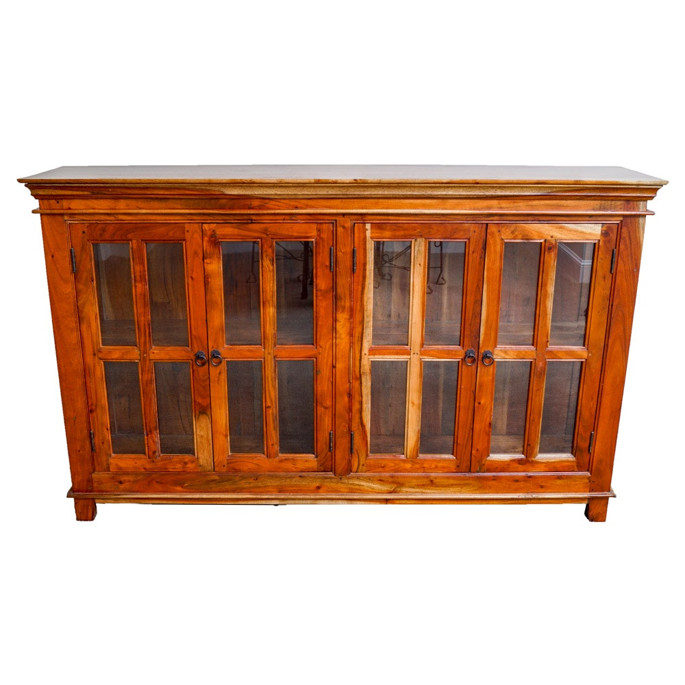 Wood and Glass Credenza
