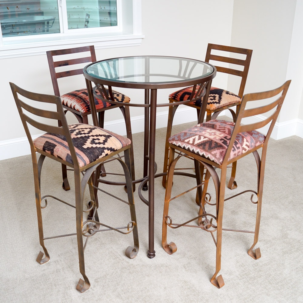 Metal and Glass Pub Table with Chairs