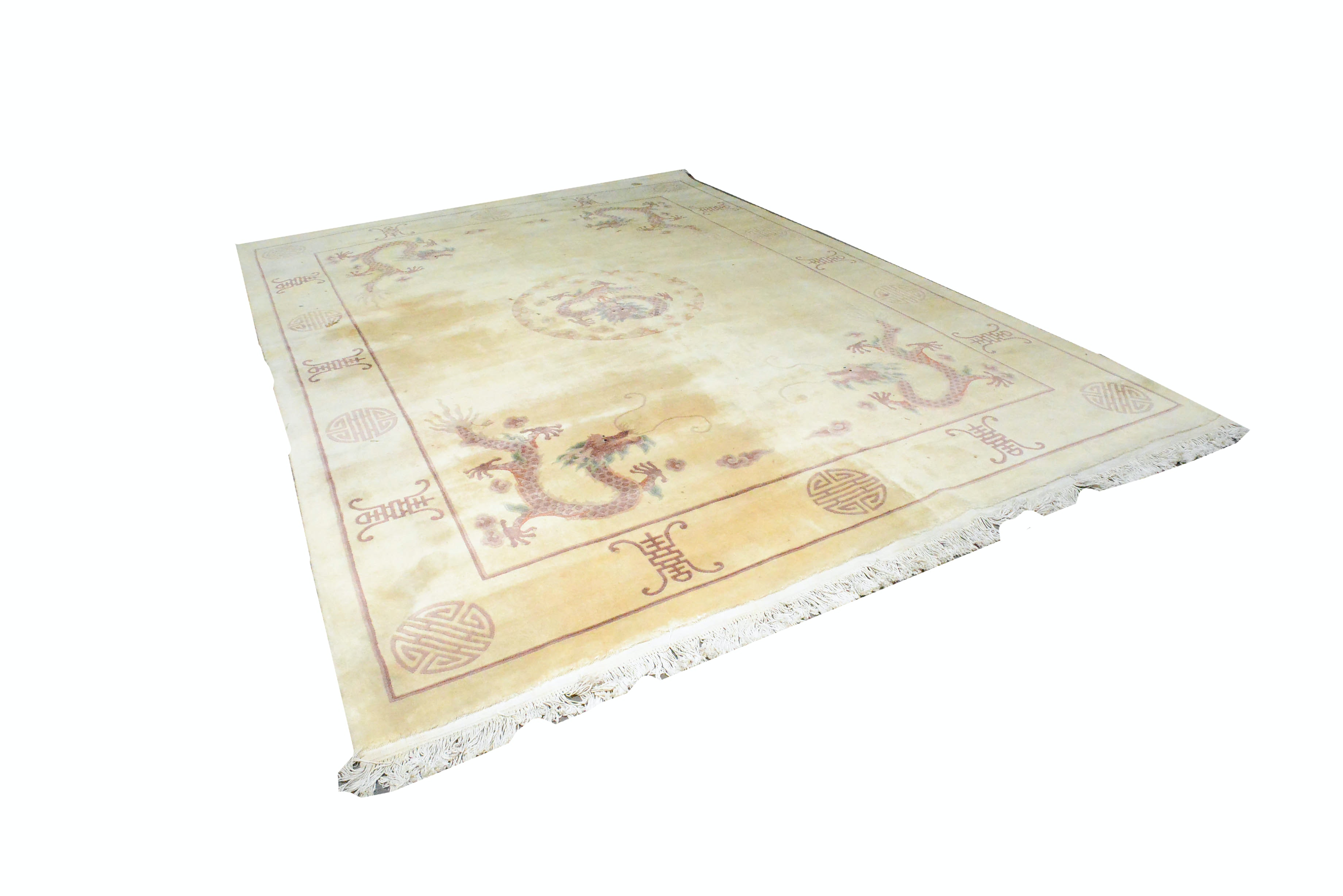 Hand-Knotted Chinese Carved Wool Area Rug