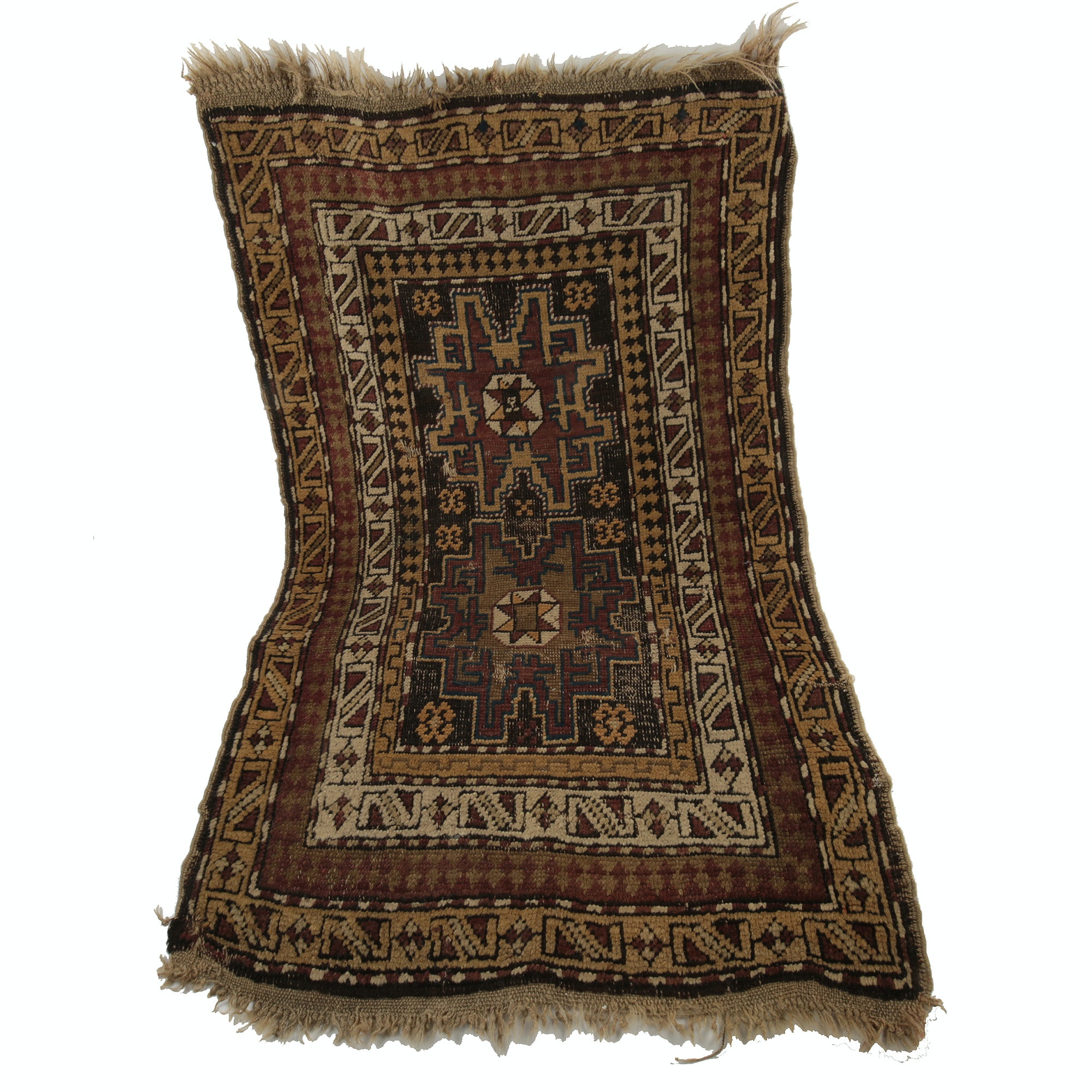 Semi-Antique Handwoven Kazak Wool Accent Rug