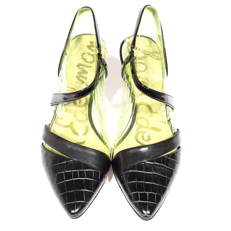 Sam Edelman Othello Black Leather Slingback Heels