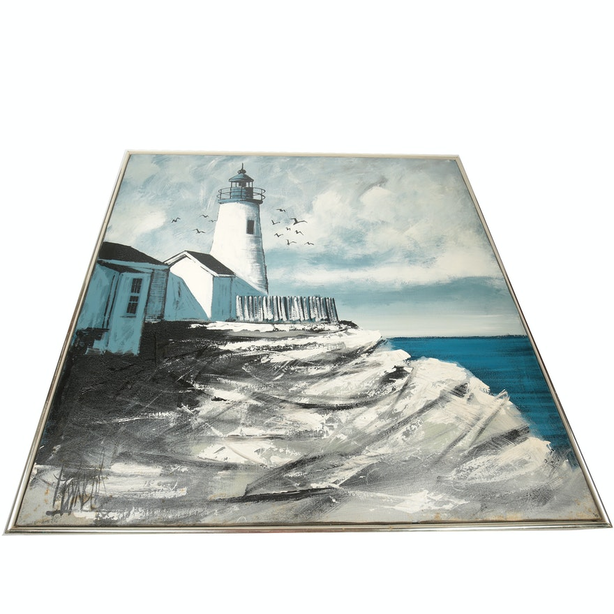 Signed Lee Reynolds Oil Painting on Canvas of Lighthouse