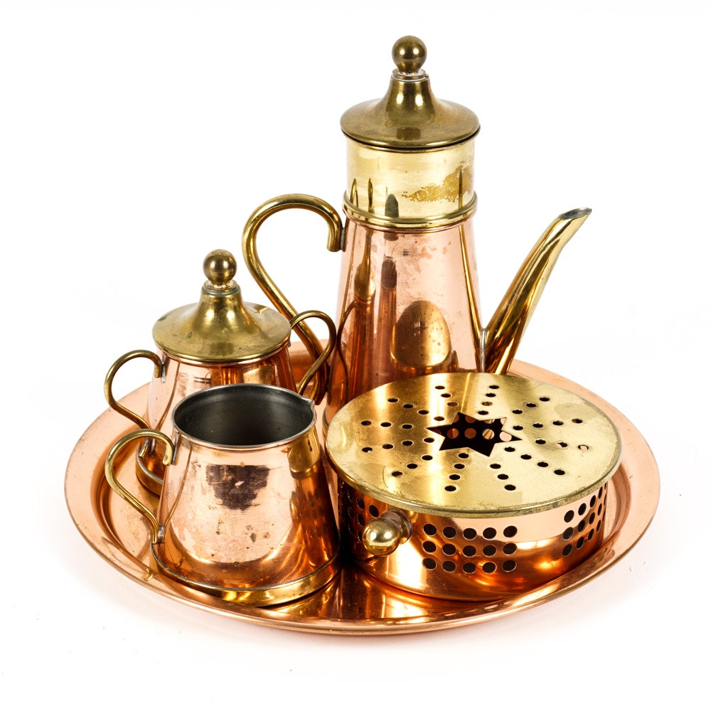 Polished Copper and Brass Tea Set