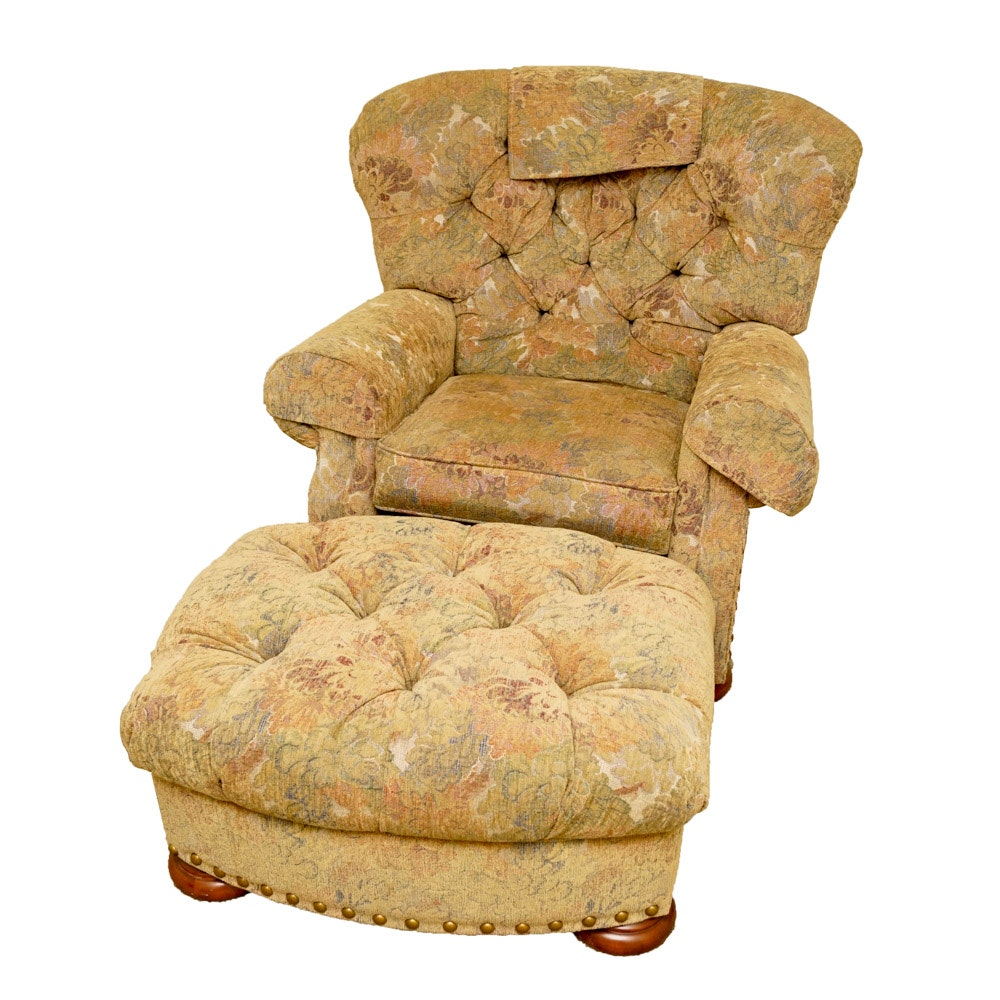 La-Z-Boy Upholstered Arm Chair with Matching Ottoman