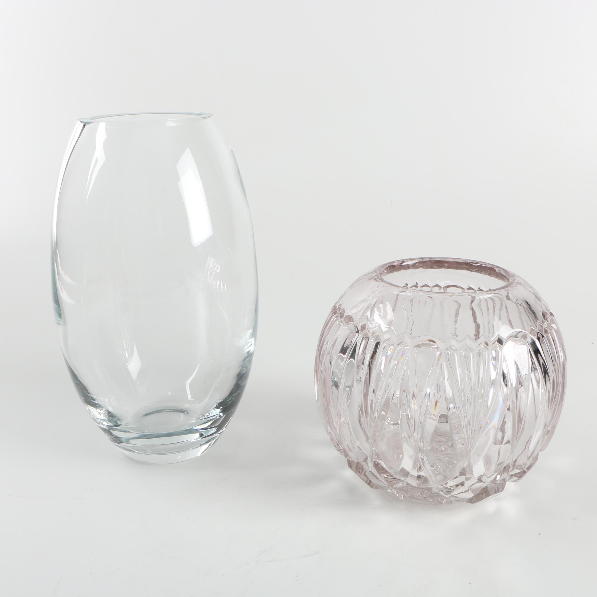 Pair of Vases including Pressed Crystal