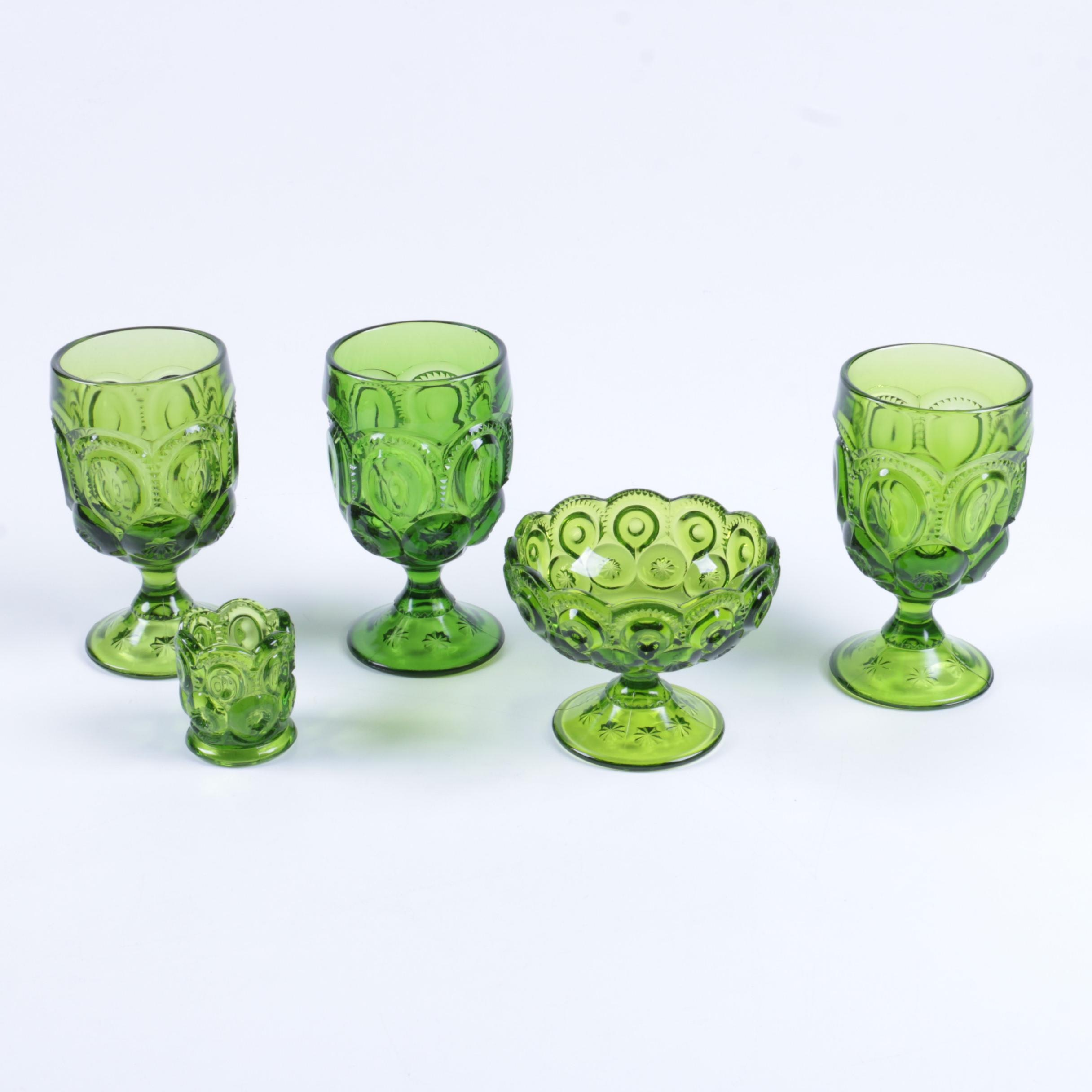 "Green ""Moon and Stars"" Depression Glass Tableware"