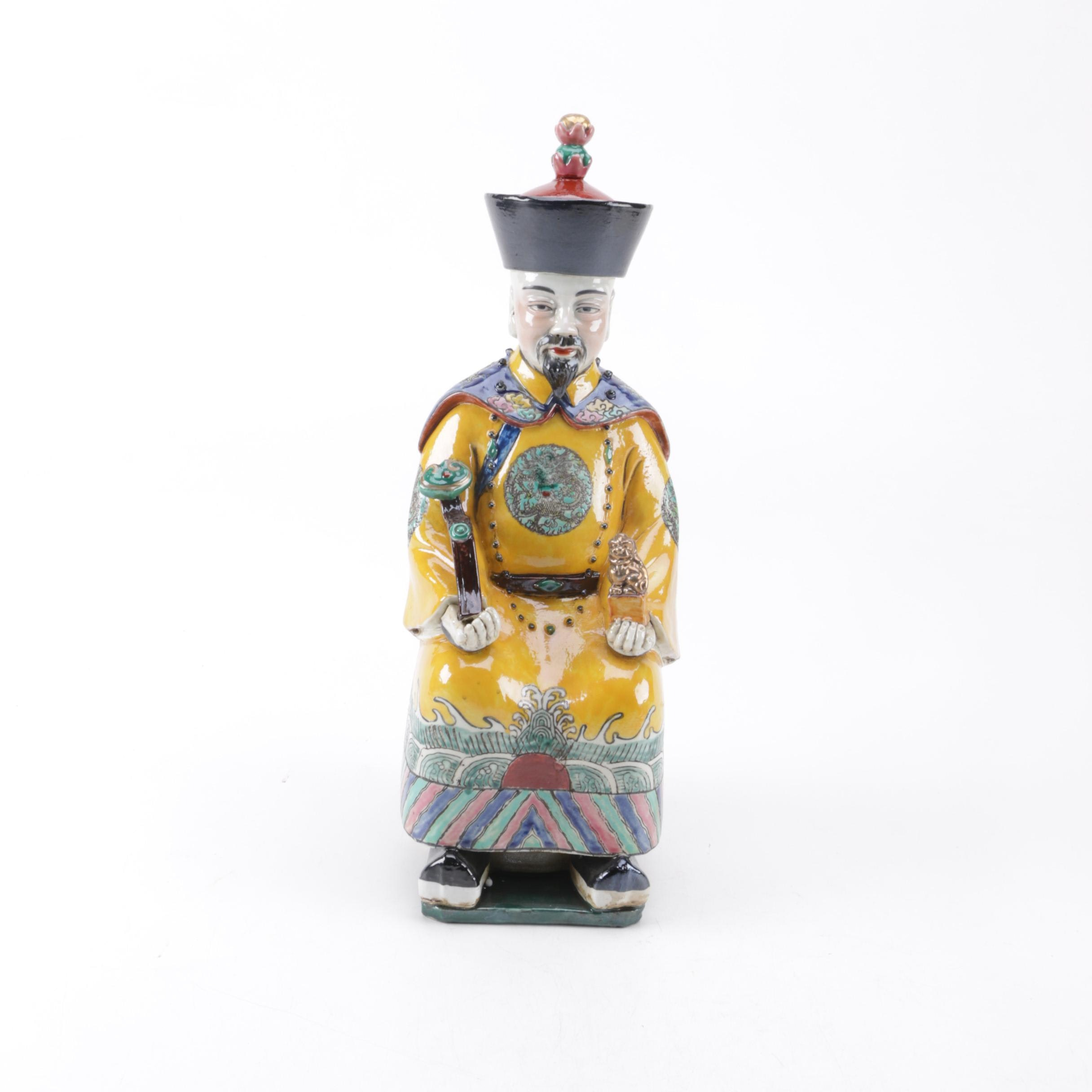 Chinese Ceramic Figurine of a Seated Man