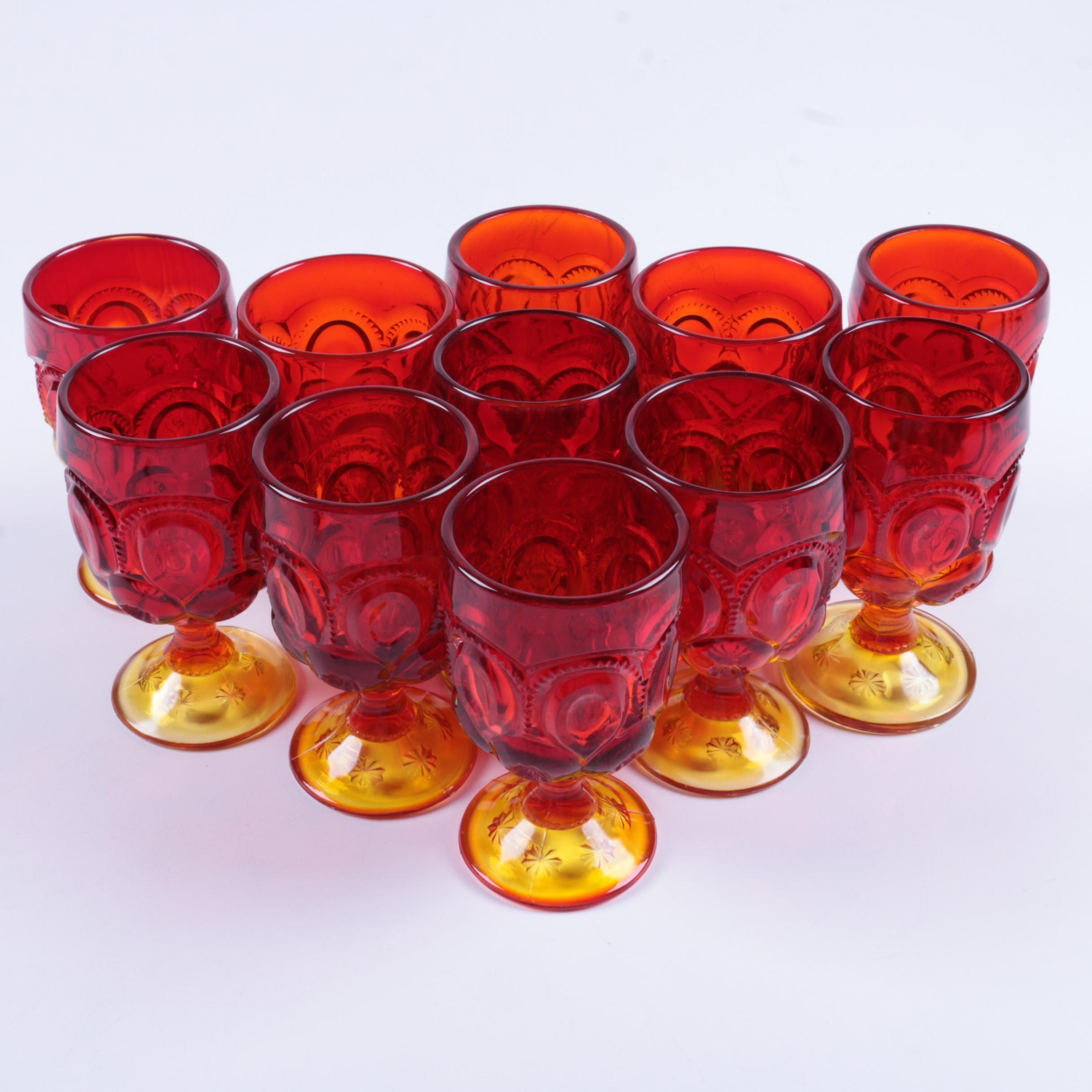 "L.E. Smith ""Moon and Stars"" Amberina Depression Glass Goblets"