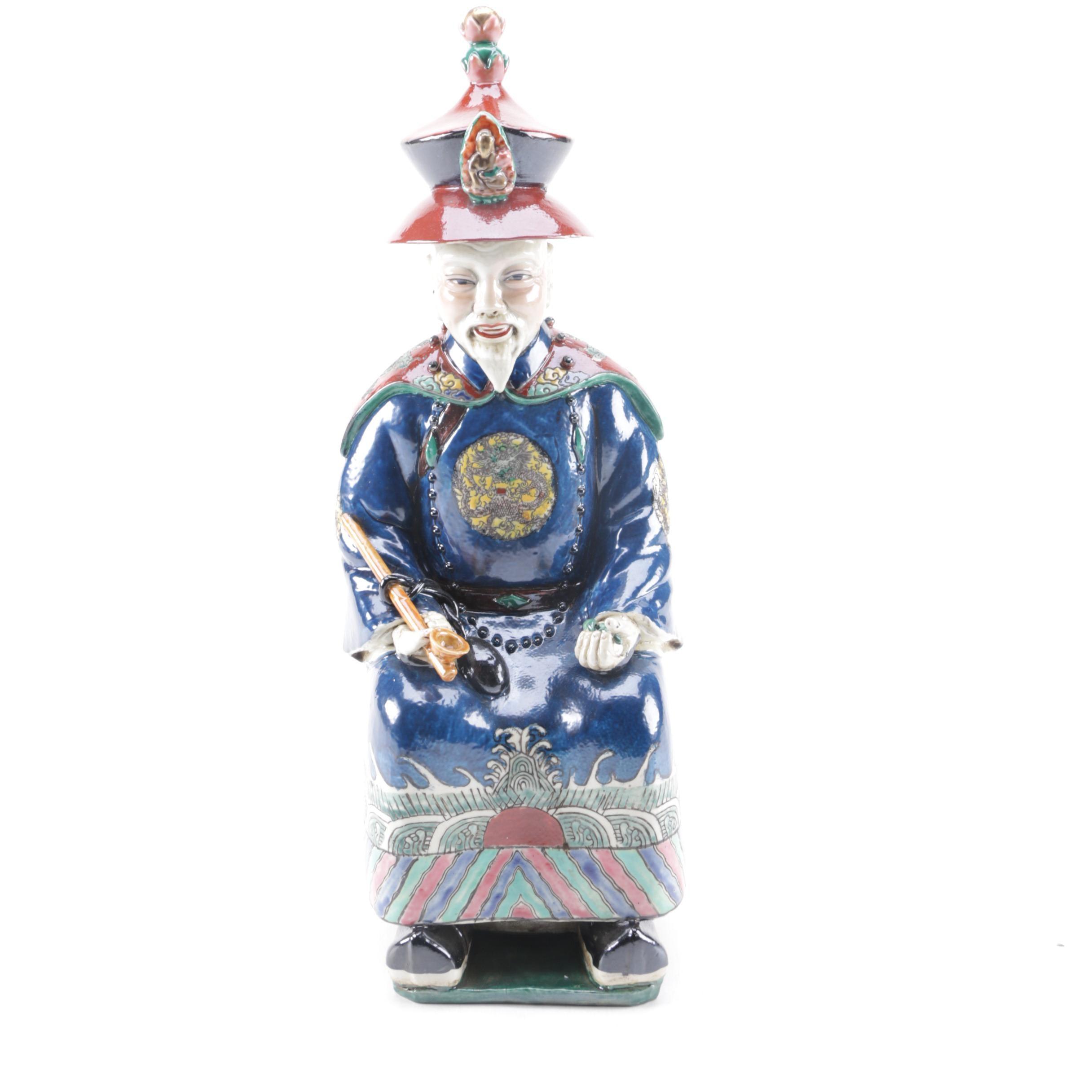 Chinese Ceramic Figurine of an Older Man