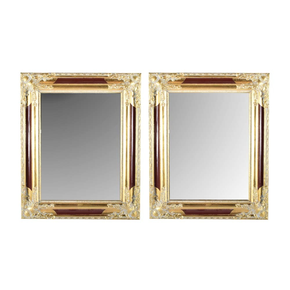 Baroque Style Red and Gold Tone Mirrors
