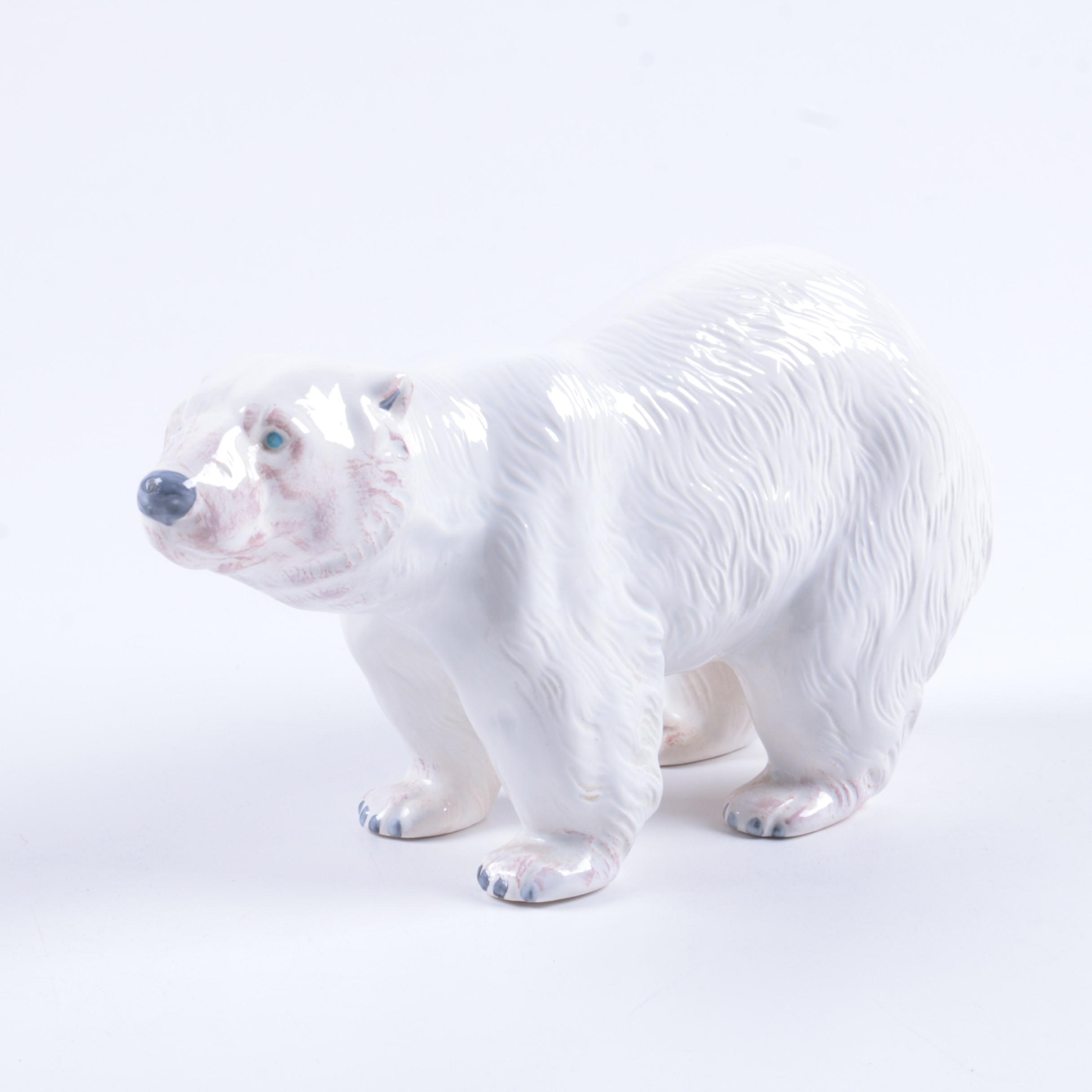 Ceramic Polar Bear Figurine
