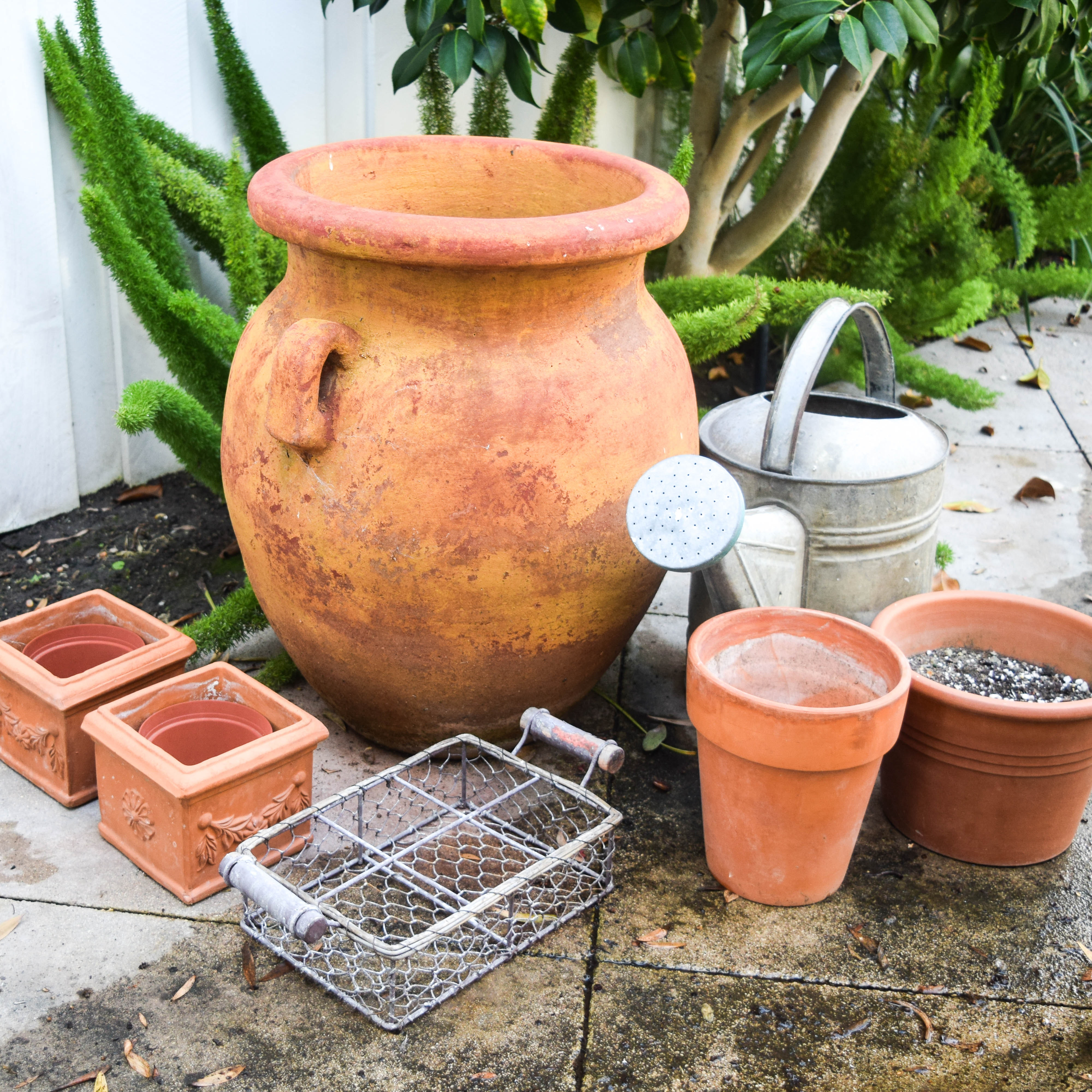Terracotta Planters Flower Pots Metal Watering Can And Tray Ebth