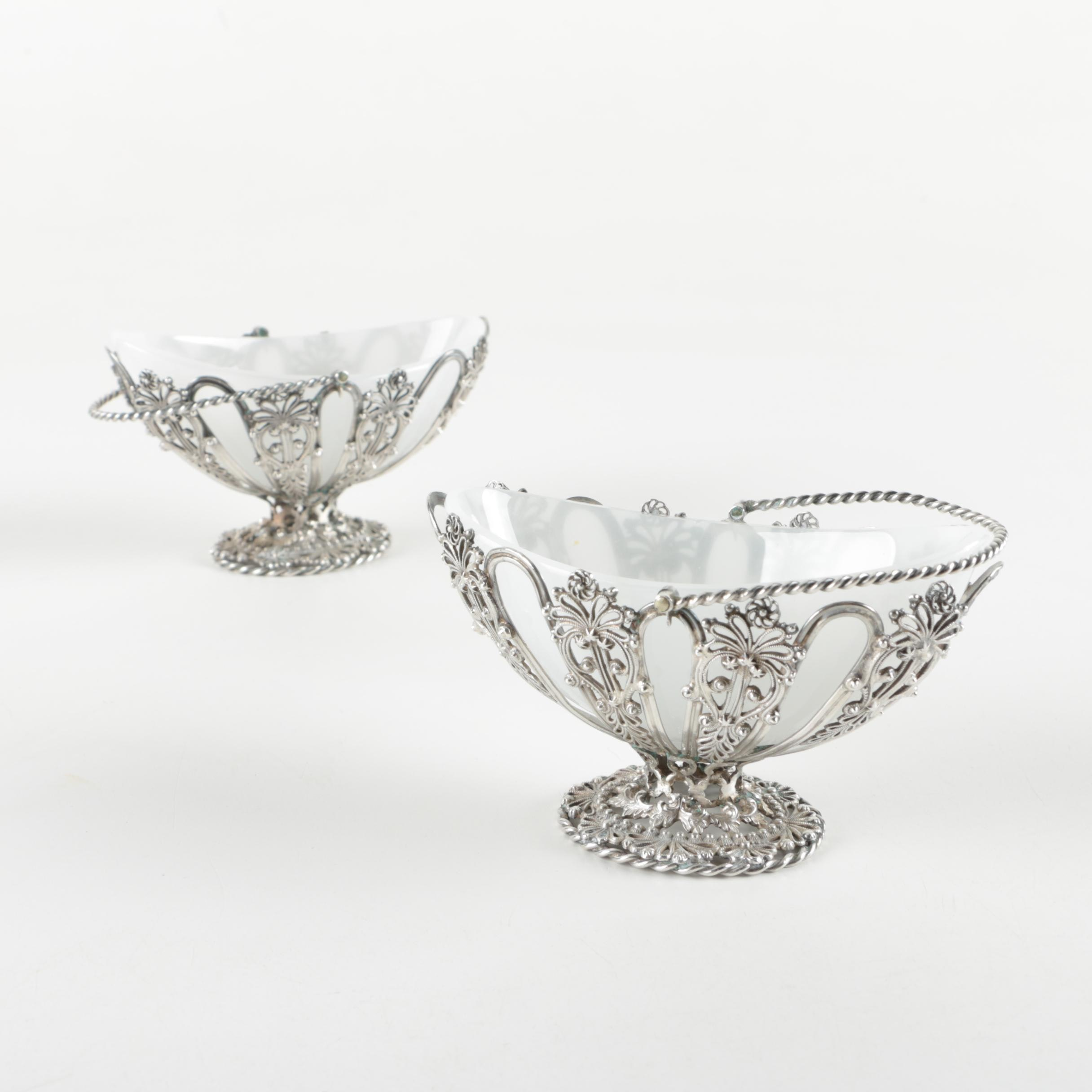 1853 Catwright, Hirons & Woodward Sterling Silver and Glass Baskets