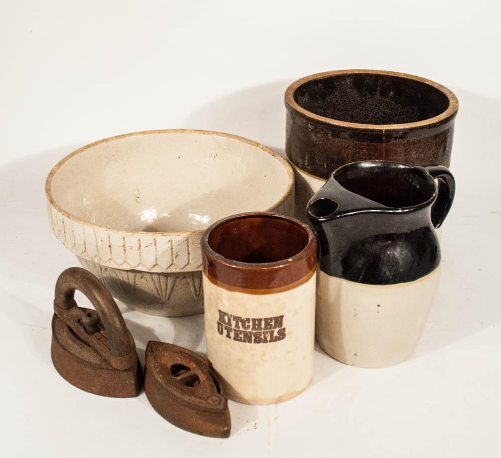 Vintage Stoneware Crocks with Flat Iron & Stand