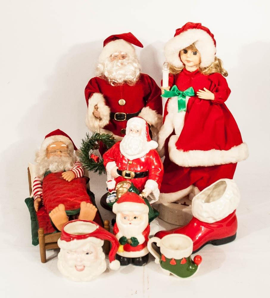 Vintage Christmas Decor Santa Figures