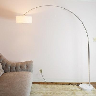 mid century modern style arc floor lamp