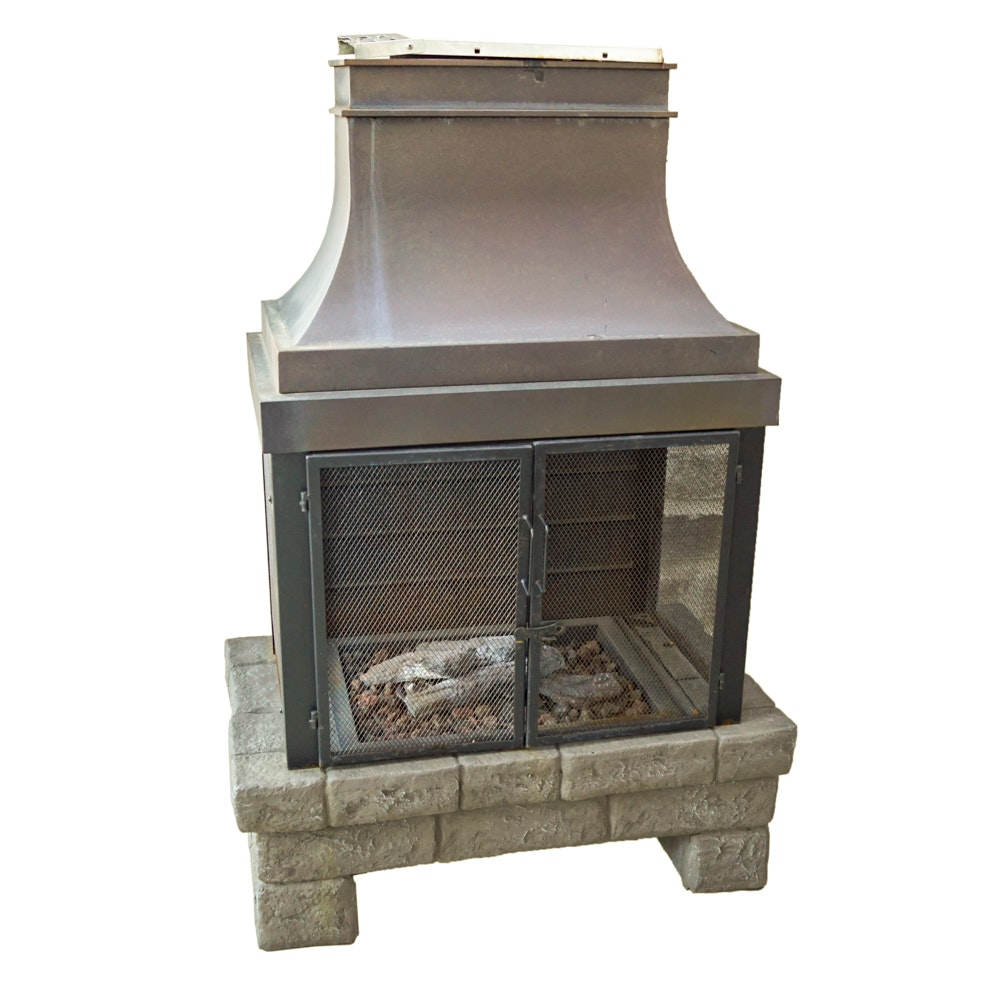 Brick and Metal Outdoor Fireplace