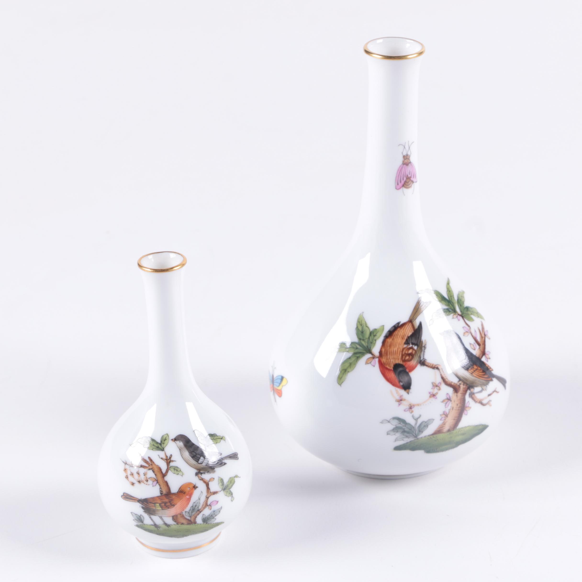 """Herend Hungary """"Rothschild Bird"""" Porcelain Vases"""