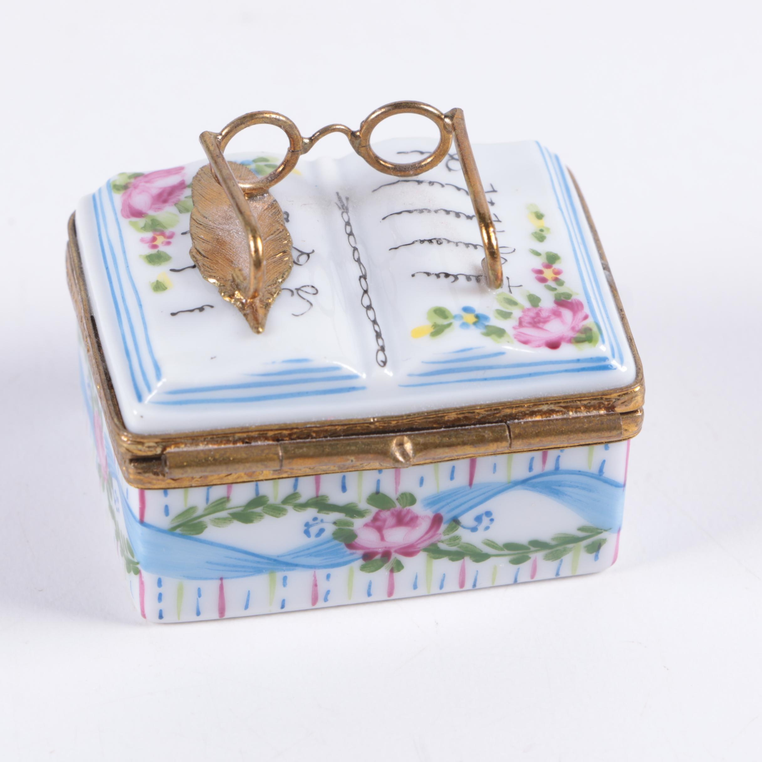 Limoges Porcelain Book Trinket Box