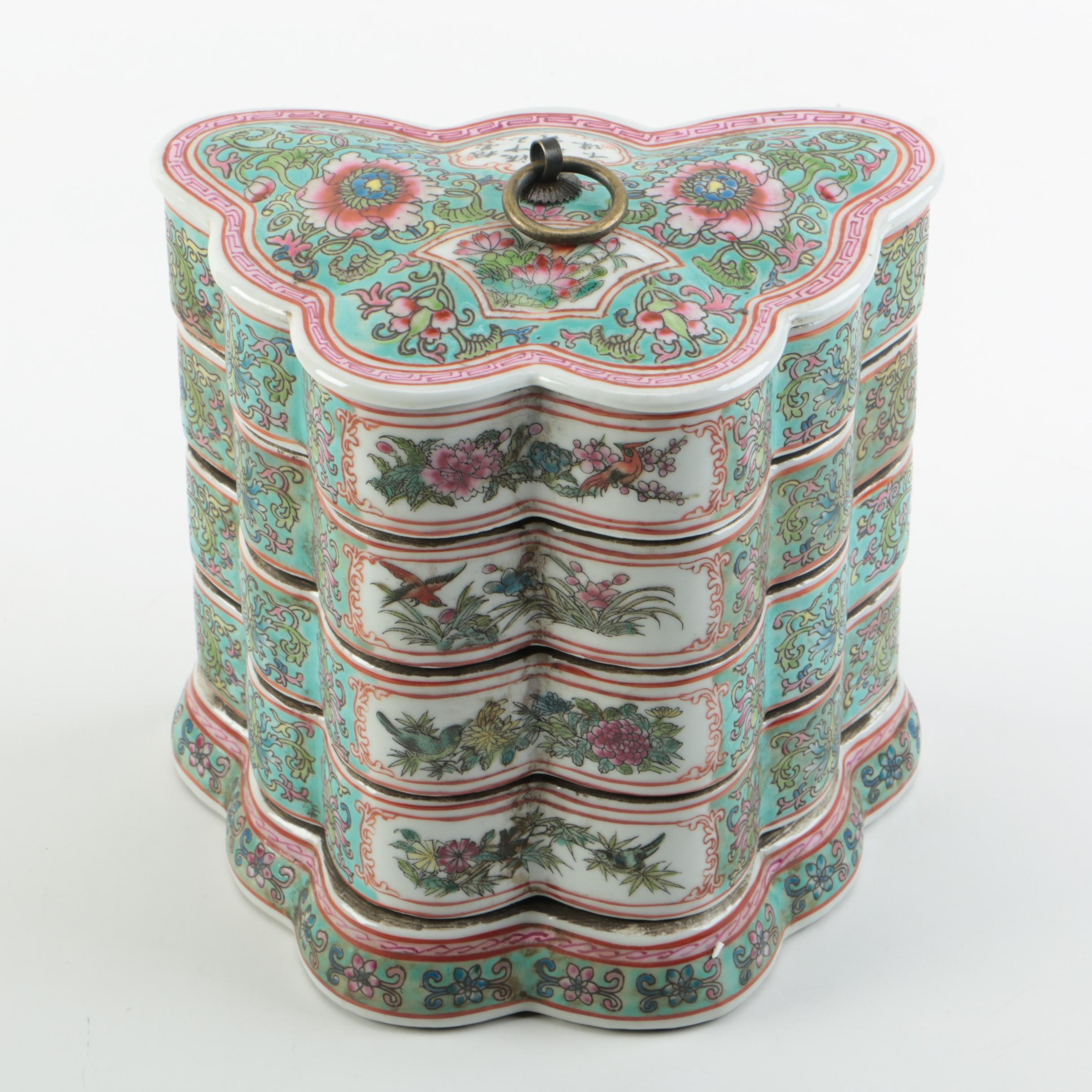 Chinese Famille Rose Porcelain Stacking Butterfly Dishes