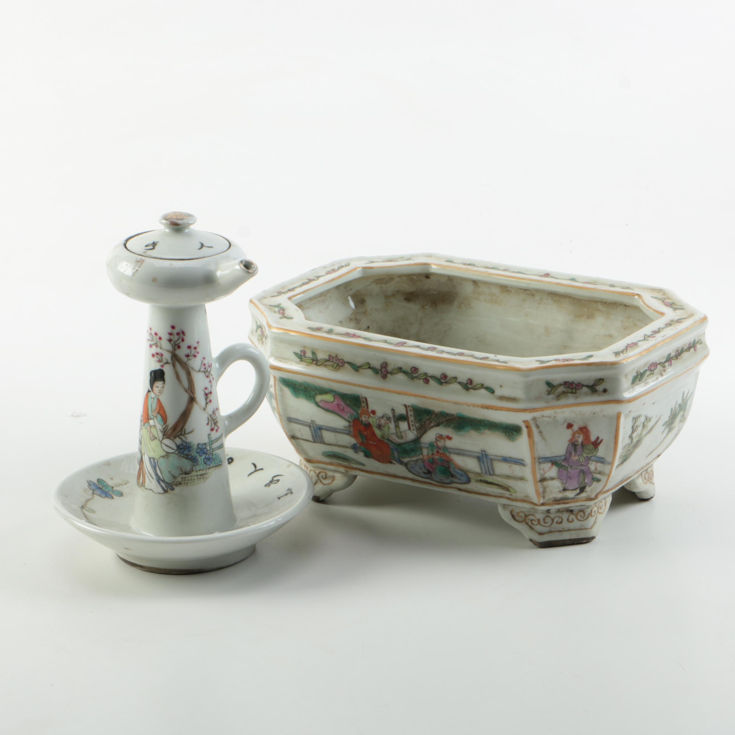 Chinese Hand Decorated Porcelain Planter and East Asian Oil Lamp