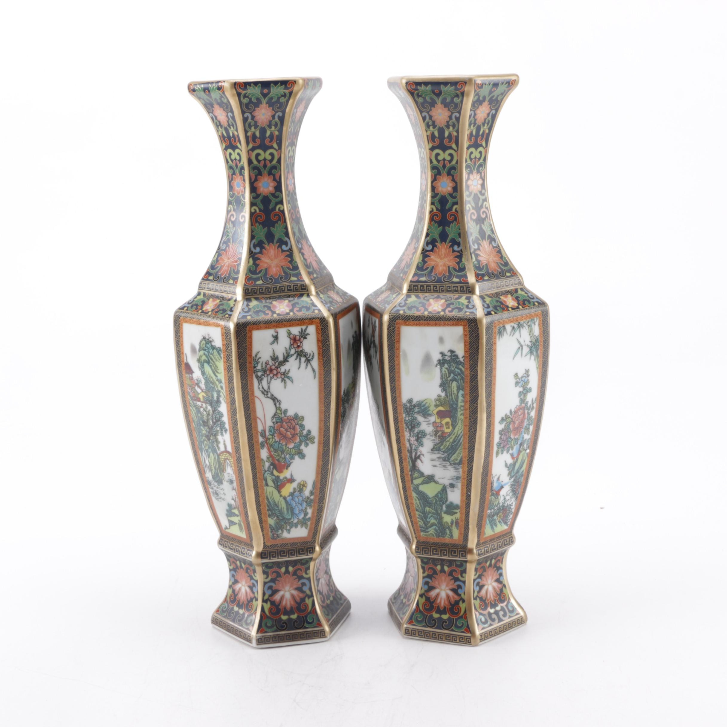 Pair of Chinese Hexagonal Faux Cloisonne Style Vases