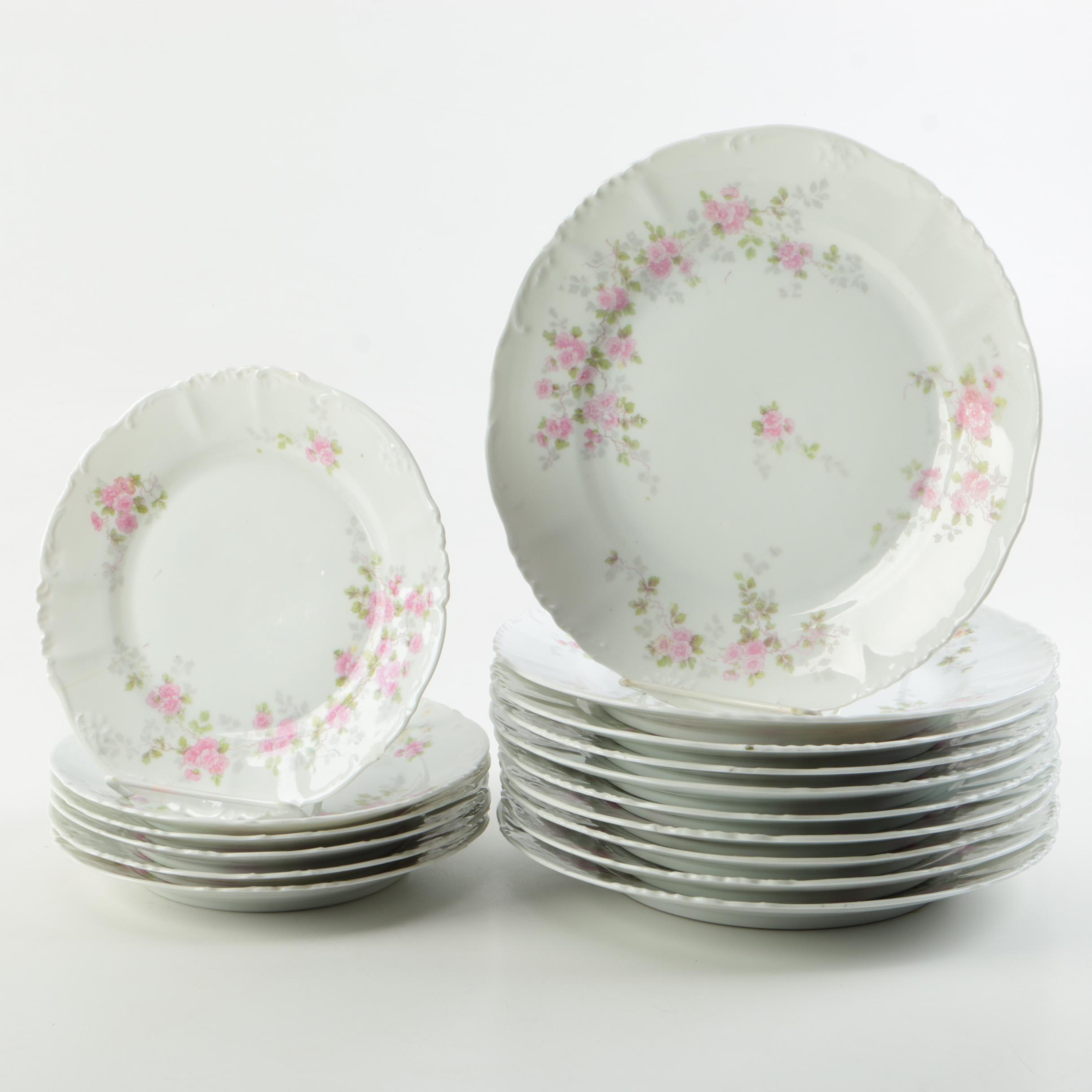 Vintage Imperial H & C Porcelain Plates with Pink Flowers